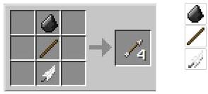 Создание стрелы в майнкрафте