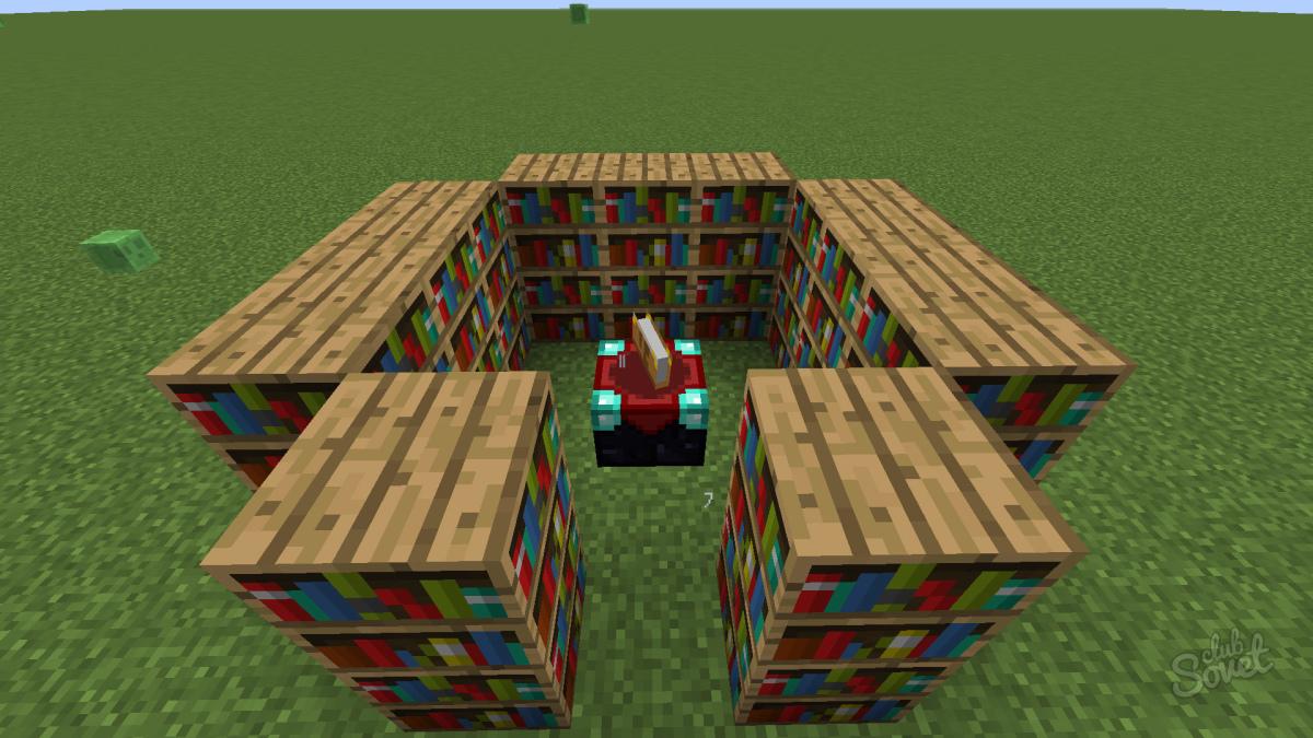 Книжные шкафы возле стола зачарования