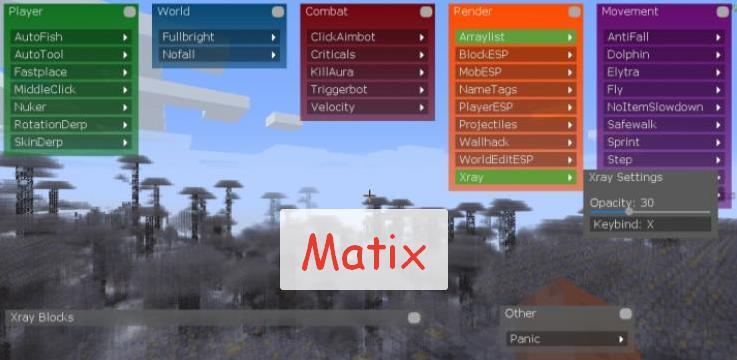 Matix чит клиент для Майнкрафт